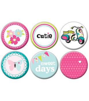 Girl Flair Self-Adhesive Tin Badges 6/Pkg-