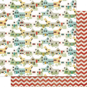 Pink Paislee Snow Village Fruitcake Double-Sided Cardstock 12''x12''