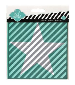 "Heidi Swapp Mixed Media Stencils 5.5""X5.5"" 3/Pkg-Star, Cut Out Star & Diagonal Stripe"