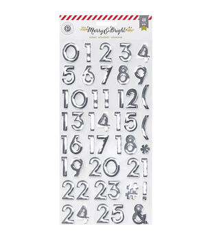 Pink Paislee Merry & Bright Countdown Numbers Foil Stickers