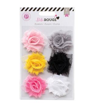 Bella Rouge Frayed Chiffon Flowers 6/Pkg-