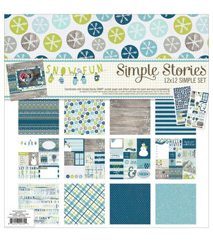 """Simple Stories Simple Sets Collection Kit 12""""X12""""-Snow Fun"""