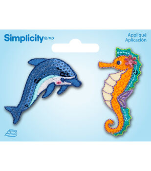 Simplicity Iron-On Appliques 2/Pkg-Dolphin & Seahorse