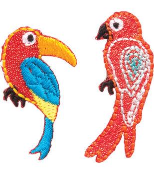 """Toucan & Parrot Iron On Applique-3/4""""X1-1/2"""" 2/Pkg"""