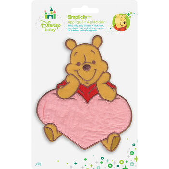 Wrights Disney Winnie The Pooh Iron-On Applique Pooh With Heart