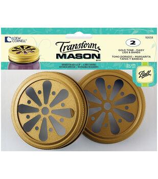 TransformMason Lids & Bands 2/Pkg-Gold Daisy