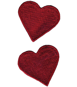 """Wrights Iron-On Appliques-Red Hearts 1-3/4""""X1-3/4"""" 2/Pkg"""