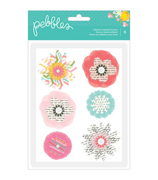 Garden Party Self-Adhesive Vellum & paper Flowers 6/Pkg-Layered W/Gem Middles