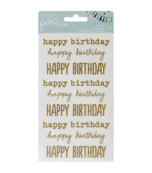 """Birthday Wishes Rub-Ons 8""""X4.25""""-Happy Birthday/Gold"""