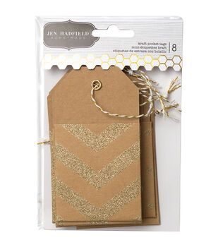 Pebbles Homemade Mini Kraft Pocket Tags With Gold Glitter Accents