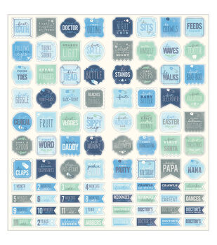 Pebbles Special Delivery-Boy Milestones Cardstock Stickers
