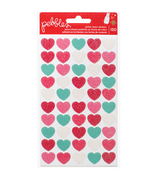 We Go Together Glitter Stickers 3/Sheets-Hearts