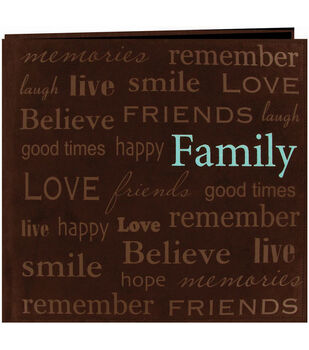 """Text Faux Suede Scrapbook 12""""X12-Family"""