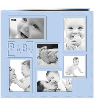 """Collage Frame Sewn Embossed Cover Postbound Album 12""""X12""""-Blue/Baby"""