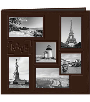 """Pioneer Collage Frame Sewn Embossed Cover Postbound Album 12""""X12""""-Travel"""