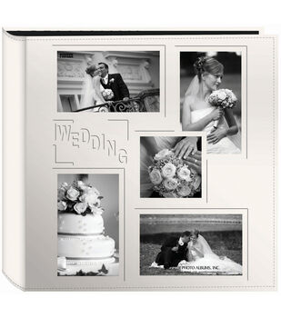 Pioneer 5-Up Collage Frame Sewn Embossed Photo Album-Ivory