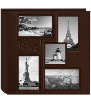 """Pioneer 5-Up Collage Frame Sewn Embossed Photo Album 12""""X12""""-Brown"""