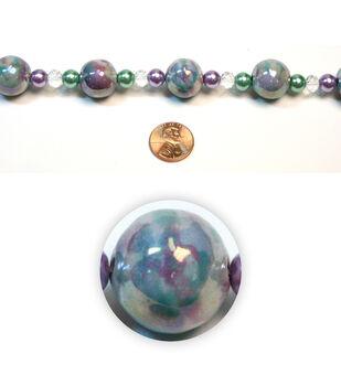 Round Iridescent Swirl Ceramic Beads