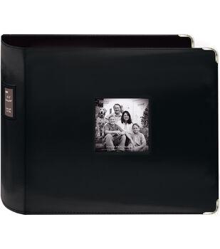 "Pioneer Sewn Leatherette 3-Ring Binder 12""X12""-Black"