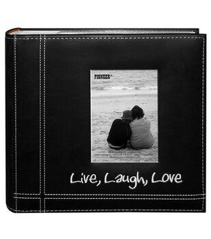 Embroidered Stitched 9''X9'' Leatherette Photo Album-Black Live/Laugh/Love