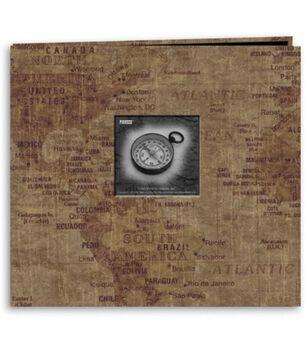 Pioneer 12''X12''  Postbound Album Travel Print W/Frame-World Map