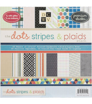 Die Cuts With A View Premium Cardstock Stack Dots, Stripes & Plaids