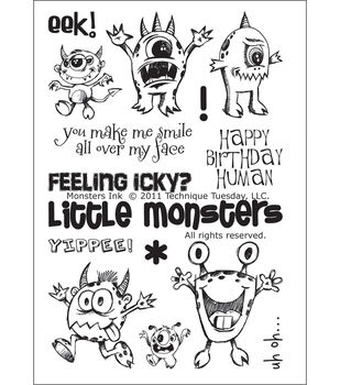 """Technique Tuesday Clear Stamps 4""""X6""""-Monsters Ink"""