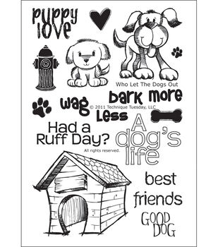 """Technique Tuesday Clear Stamps 4""""X6""""-Who Let The Dogs Out"""