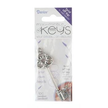 Silver Key Pendant, Tri Design, Twist Off Top Add Beads