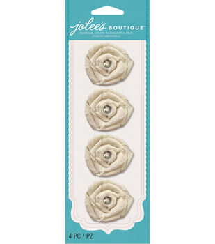 Jolee's Boutique Le Fleur Burlap Flowers With Gems
