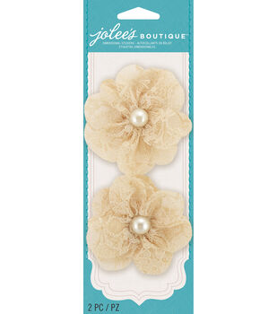 Jolee's Boutique - Cream Lace Pearl Flowers