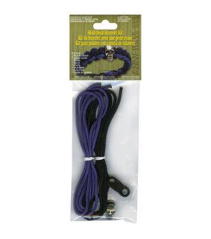 Parachute Cord Project Kit Makes 1-Purple & Black Skull Bead
