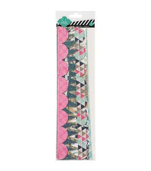 "Heidi Swapp Mixed Media Cardstock Banner Borders 8/Pkg-12"" W/Glitter Accents"