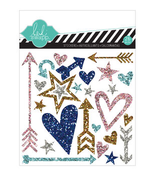"""Hello Today Puffy Glitter Stickers 4.5""""X4.5""""-Silver Shapes"""