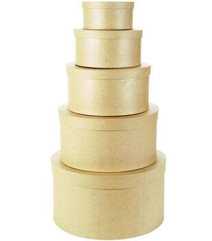 Darice® Set of 5 Paper Mache Boxes-8'',9'',10''.12'' & 14''