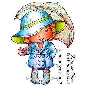 La-La Land Crafts Cling Mount Rubber Stamp Marci With Umbrella