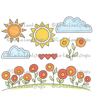La-La Land Crafts Sunny Day Elements Cling Mounted Rubber Stamps