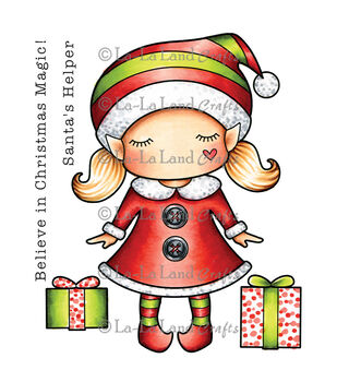 La-La Land Crafts Cling Mount Paper Doll Marci-Christmas Rubber Stamp