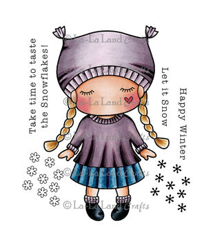 La-La Land Crafts Cling Mount Paper Doll Marci -Winter Rubber Stamps
