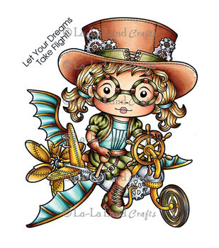 La-La Land Crafts Steampunk Cycle Marci Cling Mount Rubber Stamps