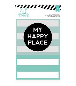 """Wanderlust Stamp & Stencil Set 5""""X7""""-My Happy Place"""