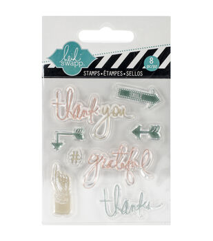 """Heidi Swapp Mixed Media Clear Mini Stamps 3""""X3.5""""-Thank You"""