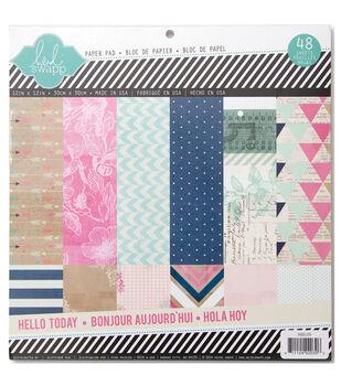 """Heidi Swapp Paper Pad 12""""X12"""" 48/Pkg-Hello Today"""