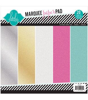 "Heidi Swapp Glitter Paper Pad 8.5""X8.5"" 20/Pkg-Marquee Love"