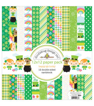 """Doodlebug Paper Pack 12""""X12""""-Happy Go Lucky"""