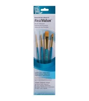 Brush Set Synthetic Gold Taklon -Round 3, Liner 1, Shader 4, Wash 1/2