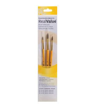 Real Value Brush Set Natural Camel-Round 1,3,5