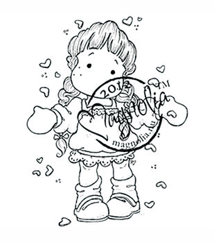 With Love Cling Stamp-Love Is In The Air Tilda