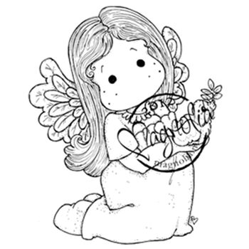 Magnolia Nativity Cling Rubber Stamp Tilda With A Little Dove