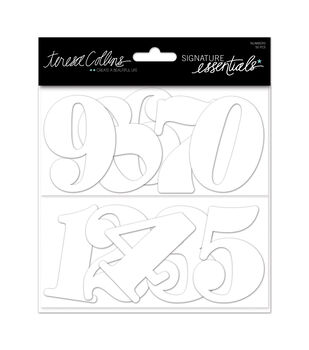 Teresa Collins White Numbers Chipboard